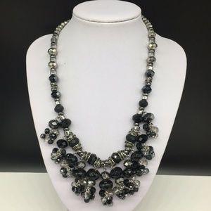 NEW Talbots Black Gray Beaded Rhinestone Necklace